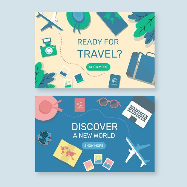 Flache reise-landingpage Kostenlosen Vektoren