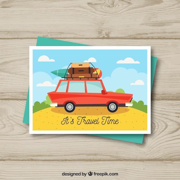 Flache reise postkarte vorlage mit dem auto Kostenlosen Vektoren