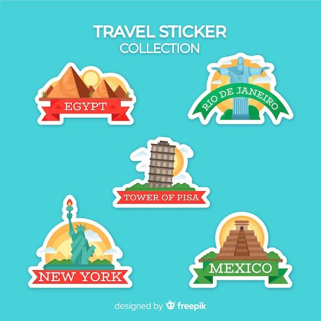 Flache reiseaufkleber-sammlung Kostenlosen Vektoren