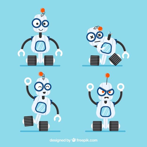 Flache robotersammlung mit verschiedenen posen Kostenlosen Vektoren