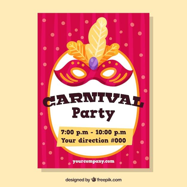 Flache Rosa Karneval Flyer Vorlage Download Der Kostenlosen Vektor