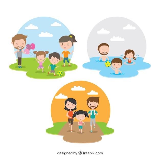 Flache Sammlung der Familie, die verschiedene Tätigkeiten tut Kostenlose Vektoren
