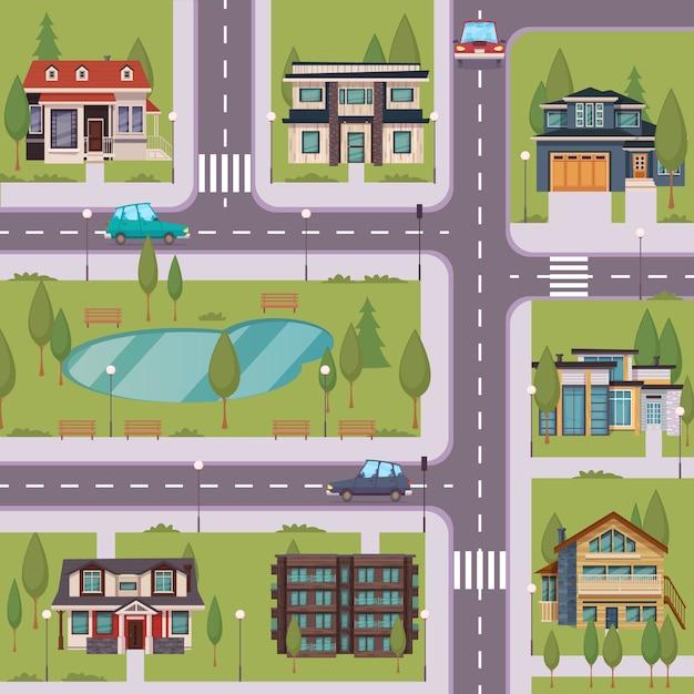 Flache schablone der landschaft mit vorstadthäusern Kostenlosen Vektoren