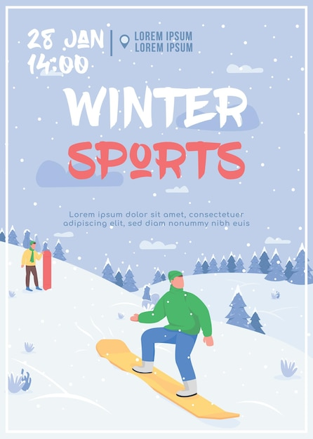 Flache schablonenillustration des wintersportplakats Premium Vektoren