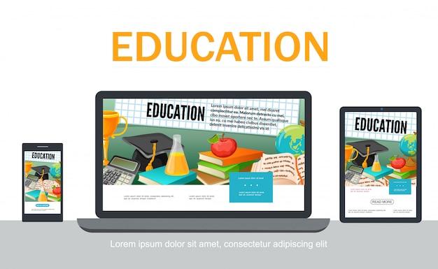 Flache schule adaptives design web-vorlage mit abschlusskappe reagenzglas apfel bücher globus rechner trophäe auf tablet mobilen laptop-bildschirme isoliert Kostenlosen Vektoren