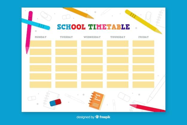 Flache schule stundenplan vorlage Kostenlosen Vektoren
