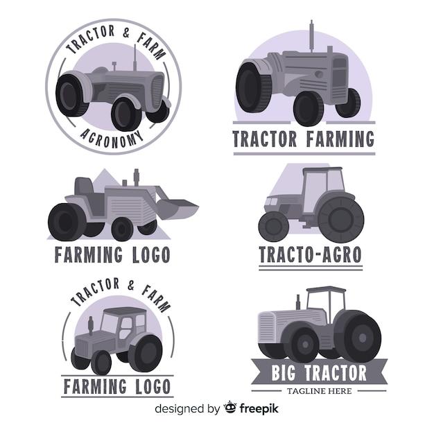 Flache schwarze farm-logo-sammlung Kostenlosen Vektoren
