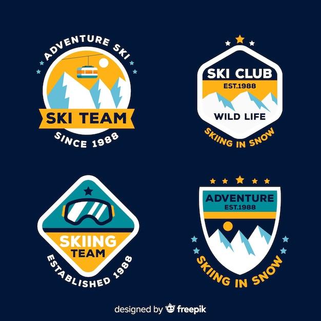 Flache ski- und schneeabzeichen-sammlung Kostenlosen Vektoren