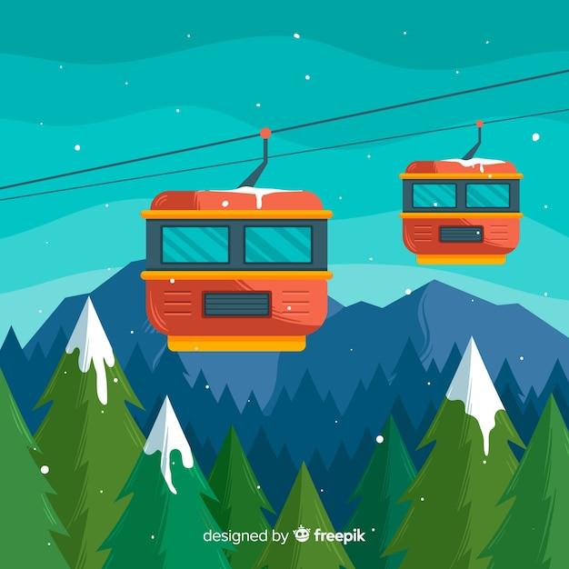 Flache skistation Kostenlosen Vektoren
