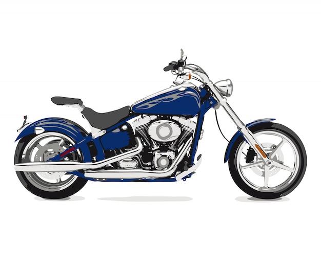Flache skizzen der motorrad-fahrradvektor-illustration Premium Vektoren