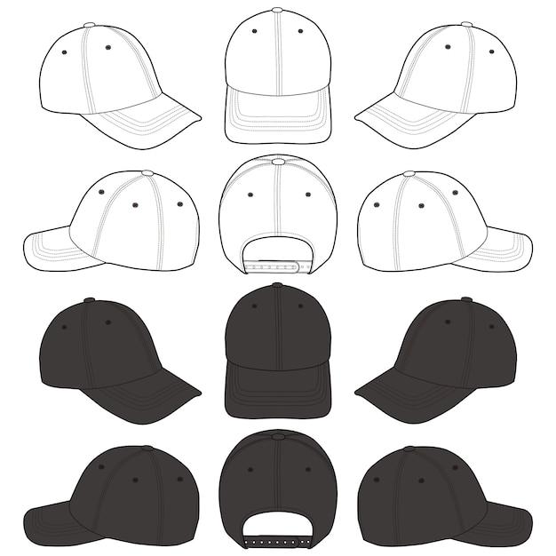 Flache skizzenschablone der baseballmütze Premium Vektoren