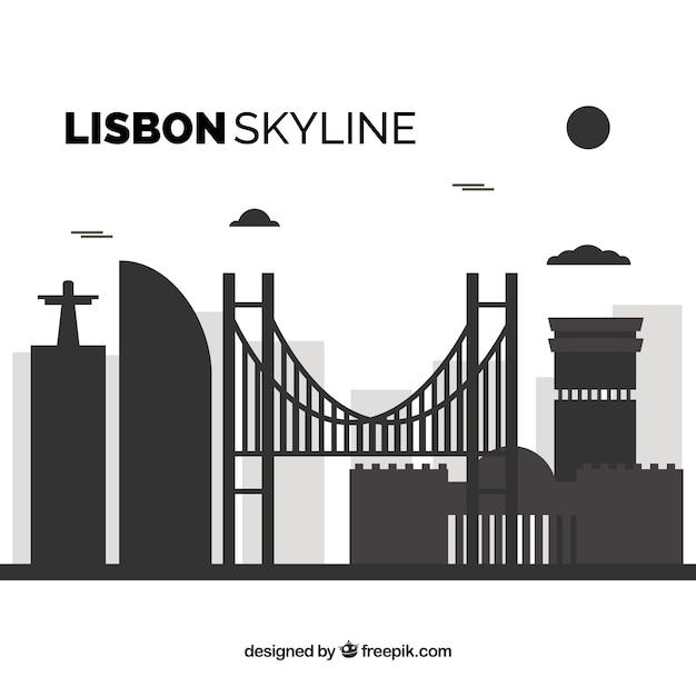 Flache skyline von lissabon Kostenlosen Vektoren