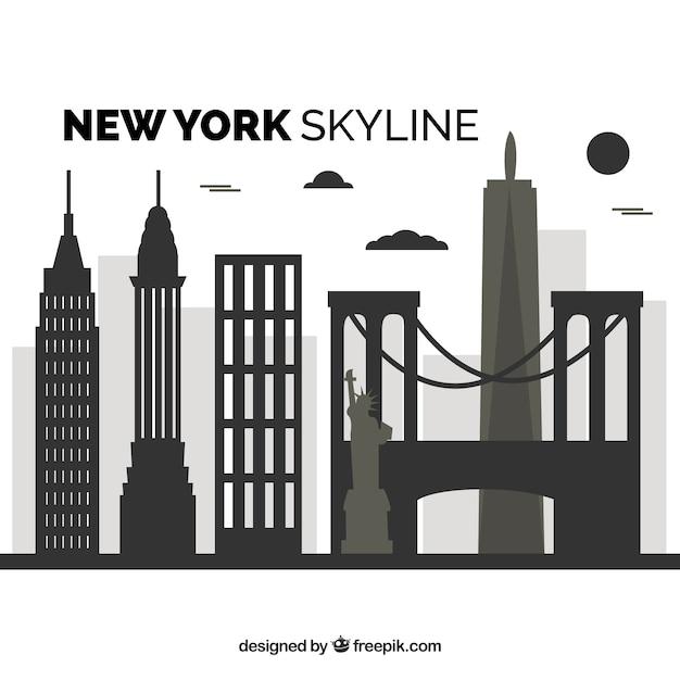 Flache skyline von new york Kostenlosen Vektoren