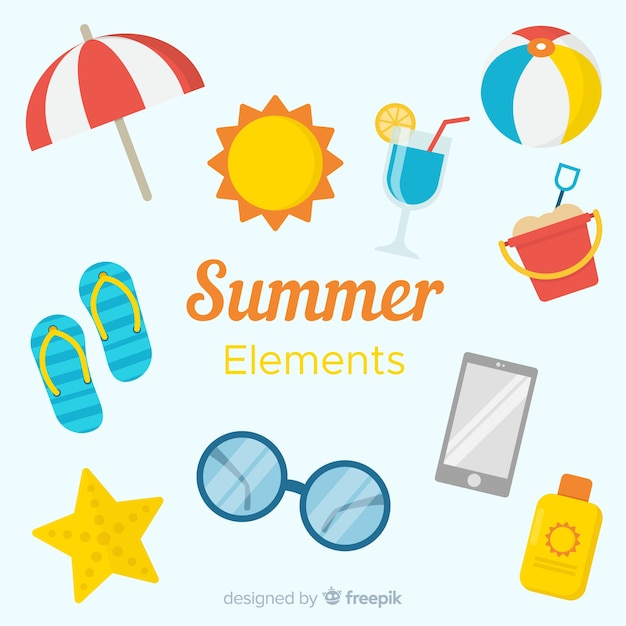 Flache sommerelement-sammlung Kostenlosen Vektoren