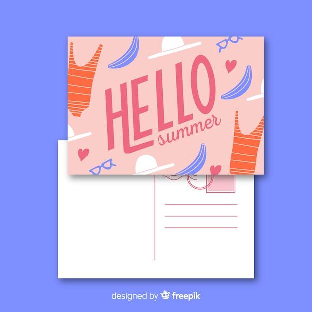 Flache sommerferien postkarte vorlage Kostenlosen Vektoren