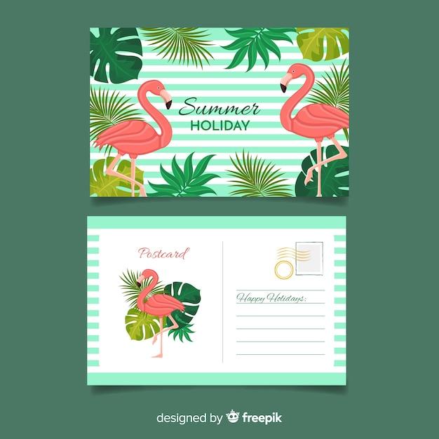 Flache sommerferienpostkarte Kostenlosen Vektoren
