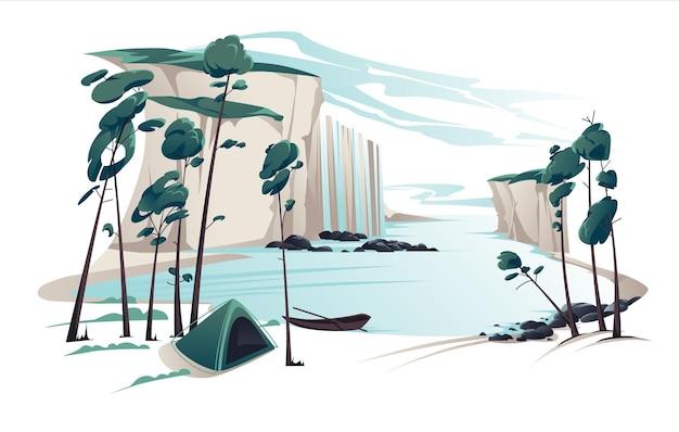 Flache sommerlandschaftsillustration mit wasserfall, fluss, bergen, kiefern, zelt und boot auf blauem bewölktem himmel. naturblick. Premium Vektoren