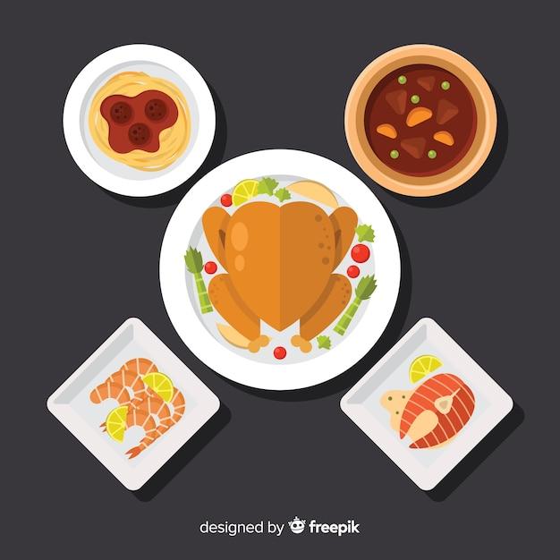 Flache speisenteller-sammlung Kostenlosen Vektoren