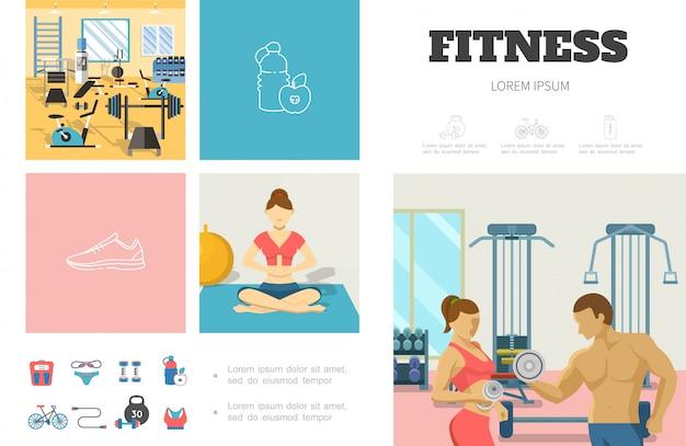 Flache sport-infografik-vorlage mit fitness-fitnessstudio-mann und frau, die hantelnmädchen, das in yoga-pose-sportbekleidung-fahrradwaagen meditiert, heben Kostenlosen Vektoren