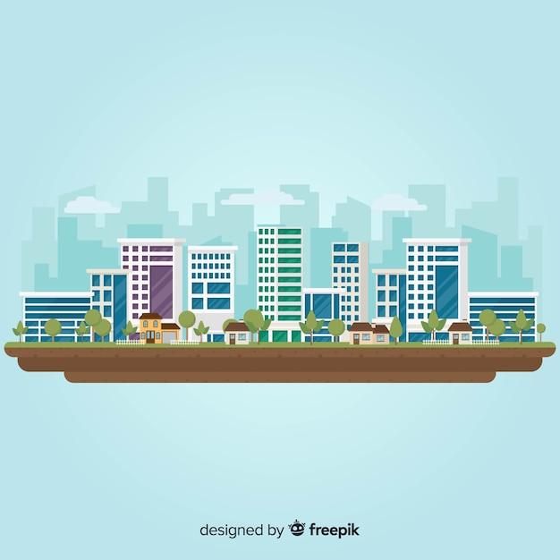 Flache stadtlandschaft mit bürogebäuden Kostenlosen Vektoren
