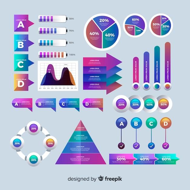 Flache steigung infografik mit statistiken Kostenlosen Vektoren