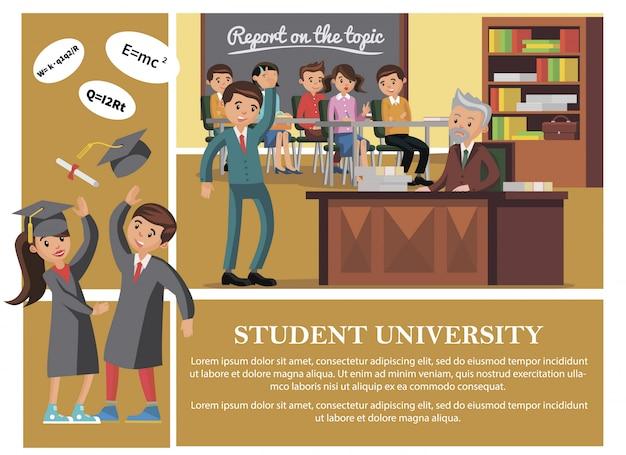 Flache studenten in der universitätszusammensetzung mit fröhlichen leuten, die vortrag glücklichen mann und frau besuchen, die abschlusskappe und diplomrolle werfen Kostenlosen Vektoren