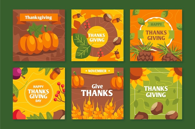 Flache thanksgiving-instagram-beiträge Kostenlosen Vektoren