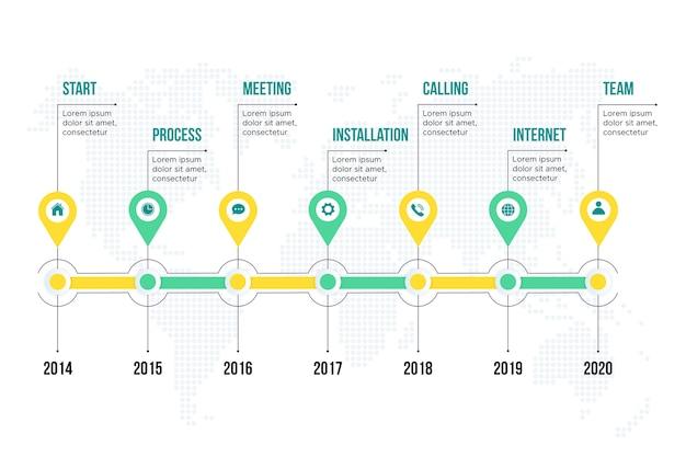 Flache timeline infografik Kostenlosen Vektoren