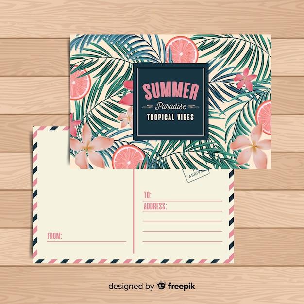 Flache tropische sommerferienpostkarte Kostenlosen Vektoren