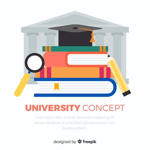 Flache universität hintergrund Kostenlosen Vektoren