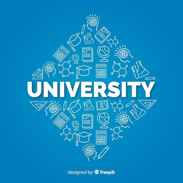 Flache universität konzept hintergrund Kostenlosen Vektoren