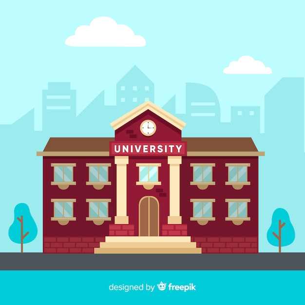 Flache universitätsgebäude hintergrund Kostenlosen Vektoren