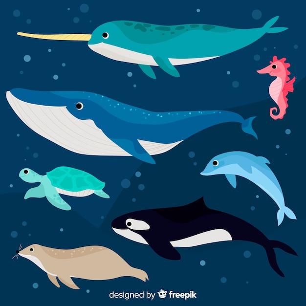 Flache unterwasserwelt charakter sammlung Kostenlosen Vektoren