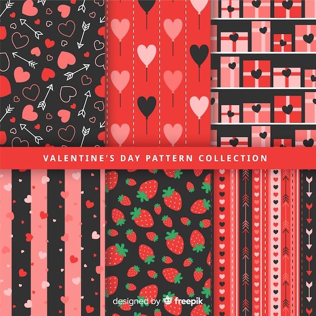 Flache valentin muster-kollektion Kostenlosen Vektoren