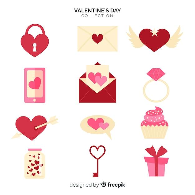 Flache valentinsgrußelementsammlung Kostenlosen Vektoren