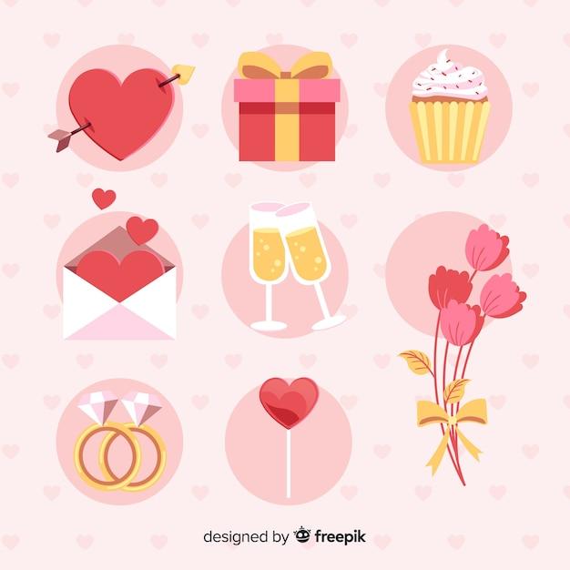 Flache valentinsgrußelementsatz Kostenlosen Vektoren