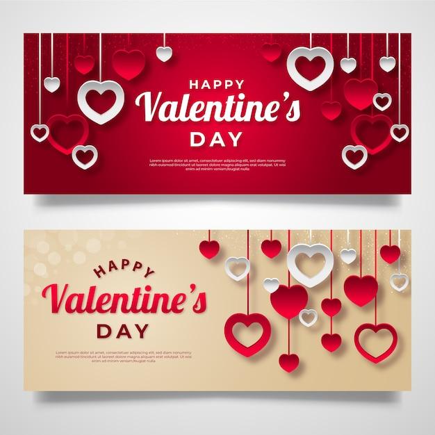 Flache valentinstag-banner Kostenlosen Vektoren