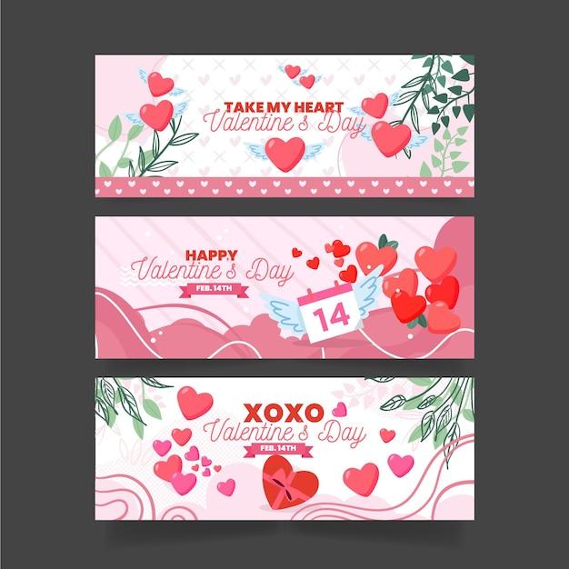 Flache valentinstag-bannersammlung Kostenlosen Vektoren