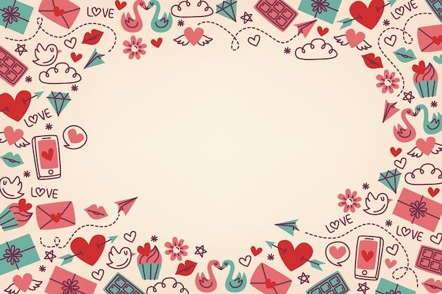 Flache valentinstag hintergrund Kostenlosen Vektoren