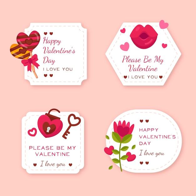 Flache valentinstag label / badge pack Kostenlosen Vektoren