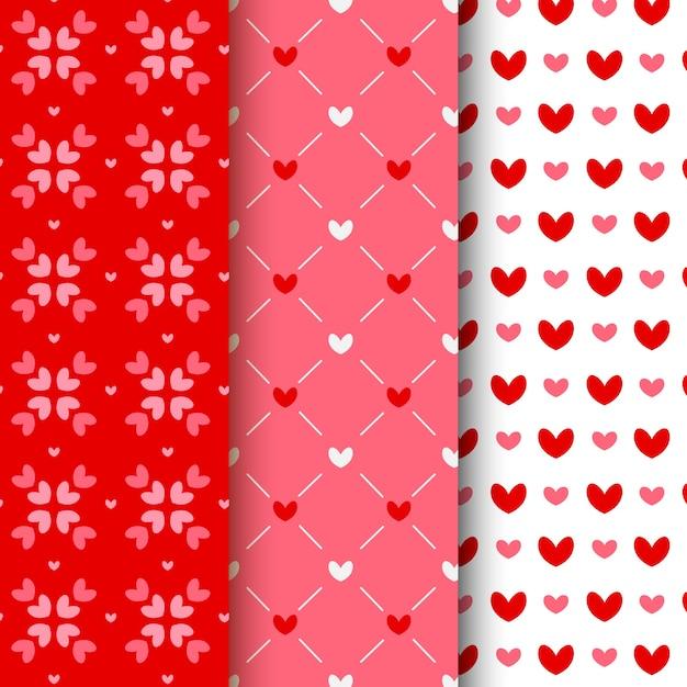 Flache valentinstag-mustersammlung Kostenlosen Vektoren