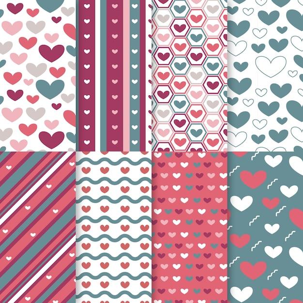 Flache valentinstag mustersatz Kostenlosen Vektoren