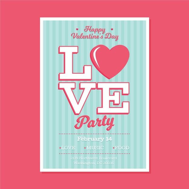 Flache valentinstag party flyer vorlage Kostenlosen Vektoren