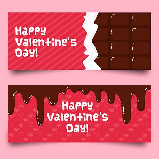 Flache valentinstagschokoladenfahnen Kostenlosen Vektoren