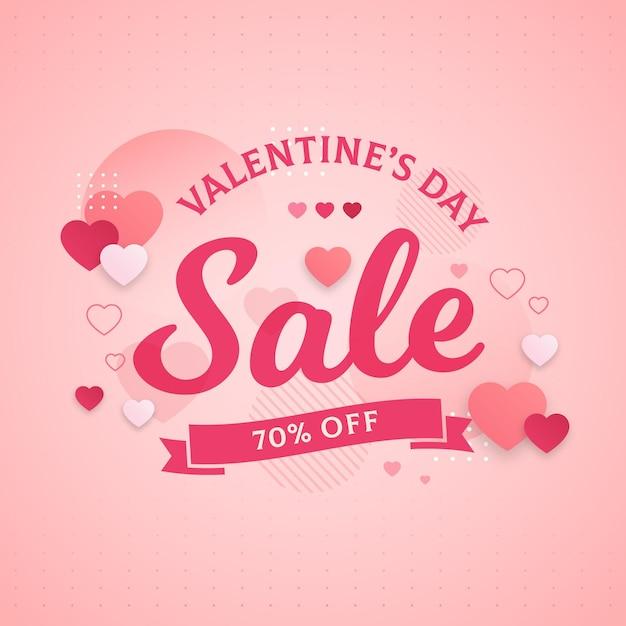 Flache valentinstagsverkaufsaktion Premium Vektoren