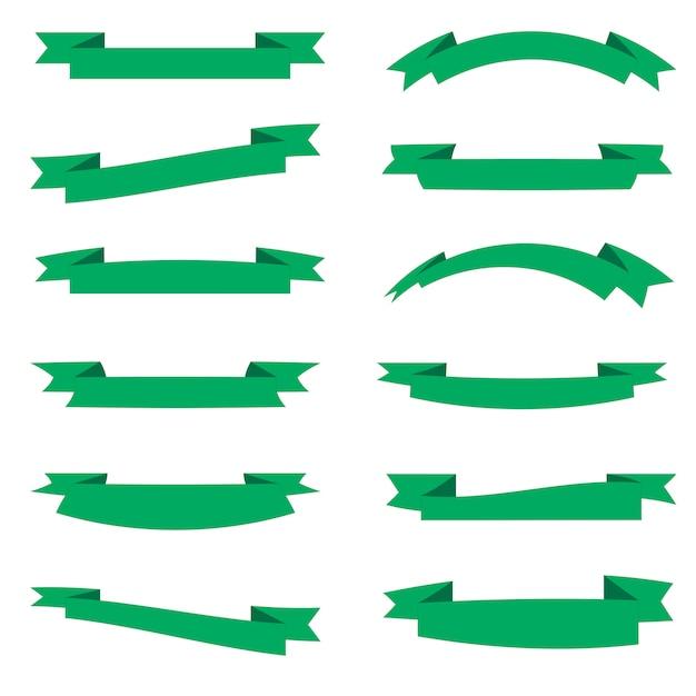 Flache vektorband-fahnenebene lokalisiert auf weißem hintergrund, illustrationssatz des blauen bands Premium Vektoren
