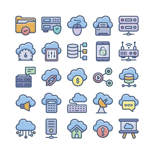 Flache vektoren für cloud computing, cloud storage und datenbanken Premium Vektoren