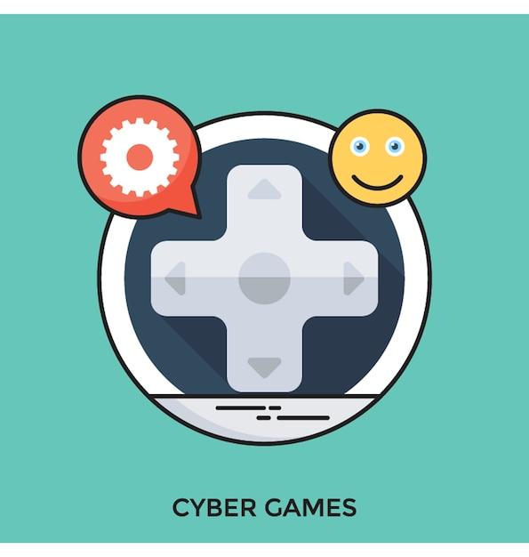 Flache vektorikone der cyber-spiele Premium Vektoren