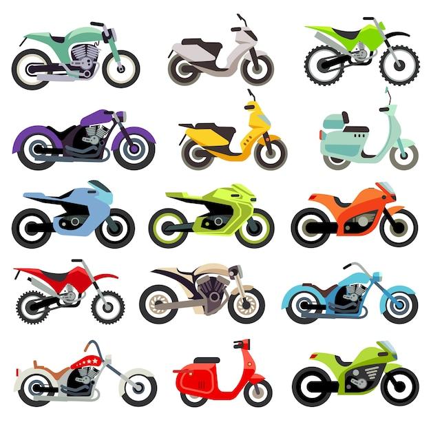 Flache vektorikonen des klassischen motorradmotorrads. satz geschwindigkeitsmotorrad, illustrationssatz von motobik Premium Vektoren
