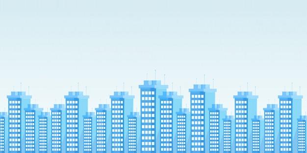 Flache vektorillustration der modernen städtischen skyline Premium Vektoren